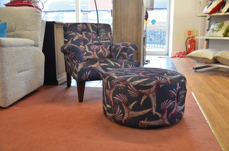 The Lounge Co Armchair Bird Fabric Designer Ex Display