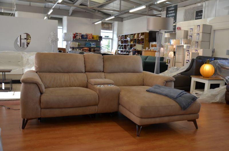 Odyssey Leather Recliner Chaise with Cupholders ex display sale fast delivery sofas Clitheroe Lancashire