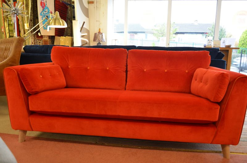 orange velvet sofa in stock now delivered before Christmas ex display sofas Clitheroe Lancashire