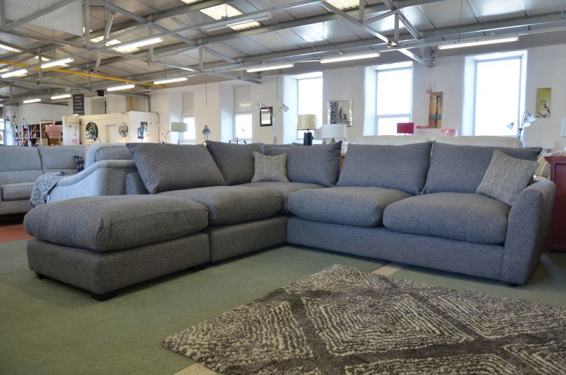 Stamford Deluxe Fabric Corner Suite with End Footstool