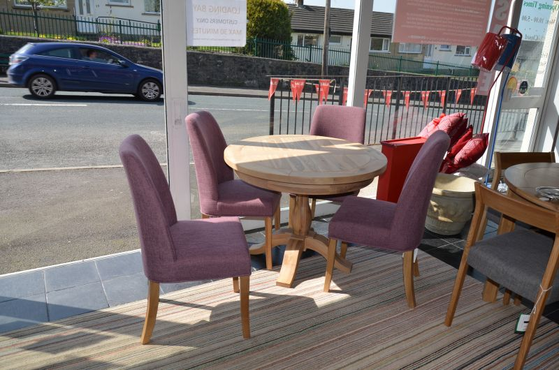 Tuscany Round Dining Table and 4 Purple Pinner Chairs