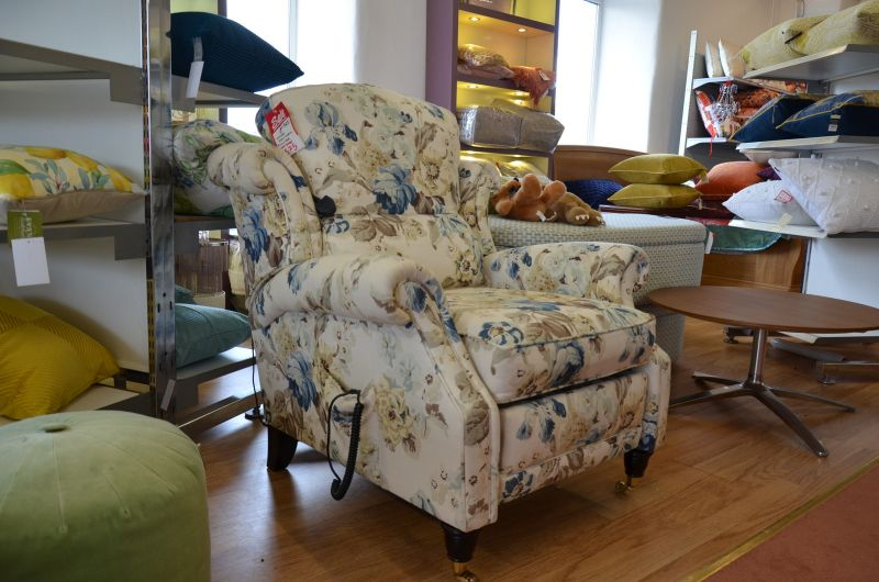 Wade Hollinwell Armchair with Power Recliner in Blue Floral Fabric