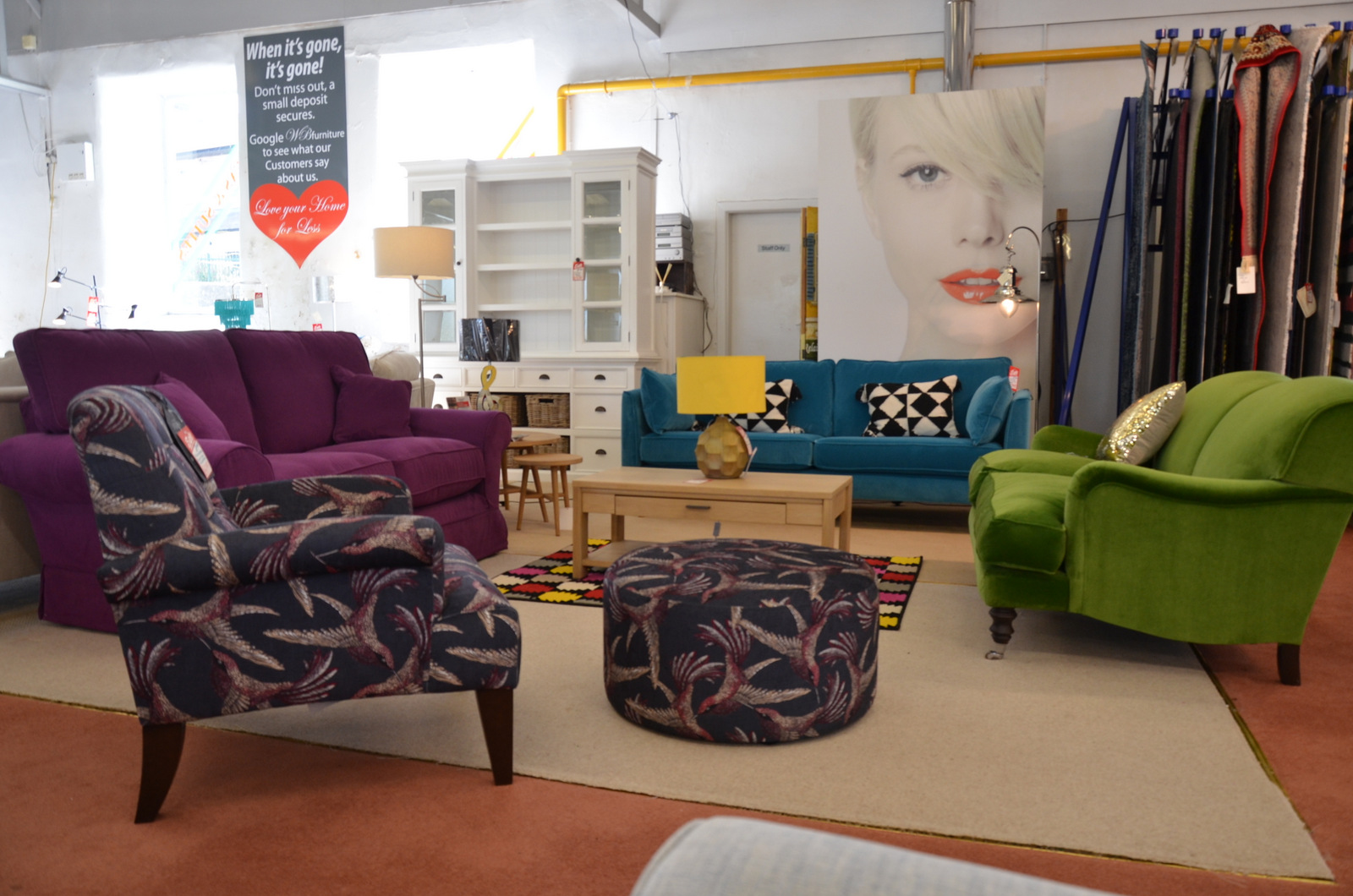 Ex display designer sofas at Worthington Brougham Furniture Ltd in Clitheroe