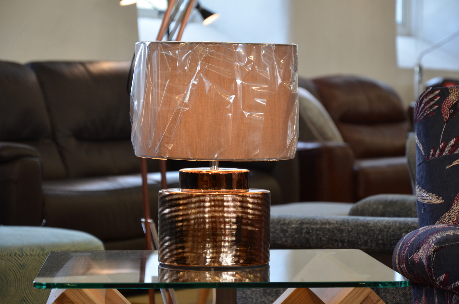 beautiful metallic table lamps half price at our lighting showroom in Lancashire